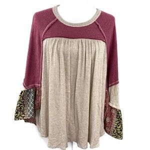 Altar'd State Waffle Knit Patchwork Boho Blouse